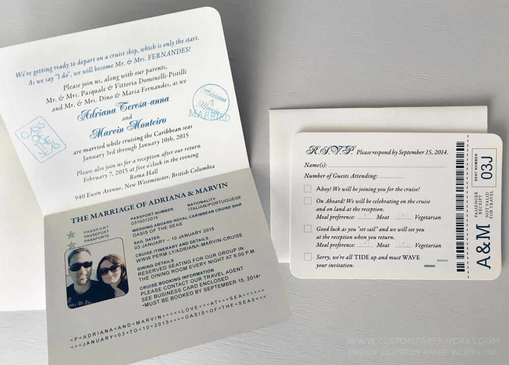 Passport invitations for a cruise ship wedding – Custom Paper Works
