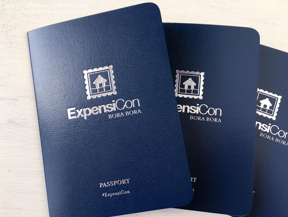 Vinyl cover custom novelty passport books by Custom Paper Works