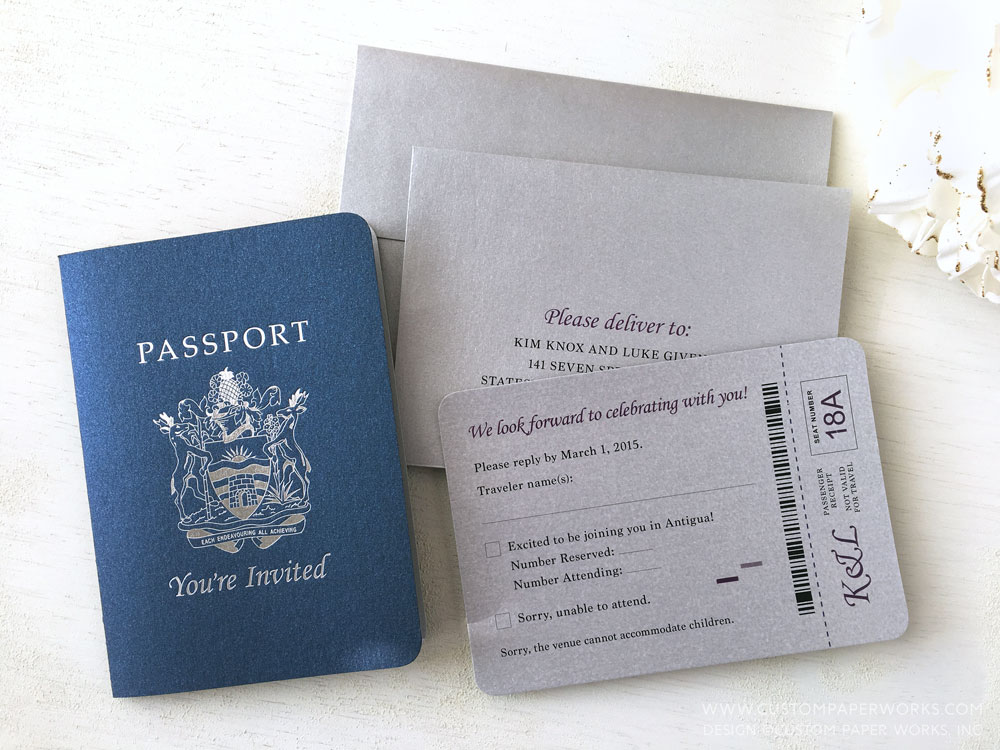 Antigua destination wedding invitation that looks like a passport