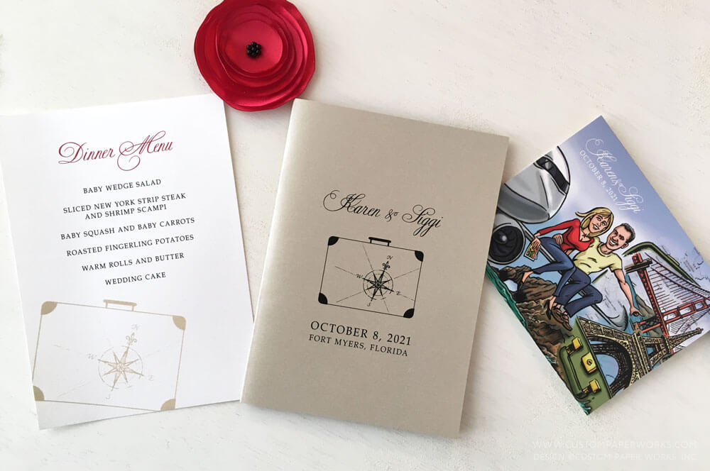 Destination wedding programs by Custom Paper Works