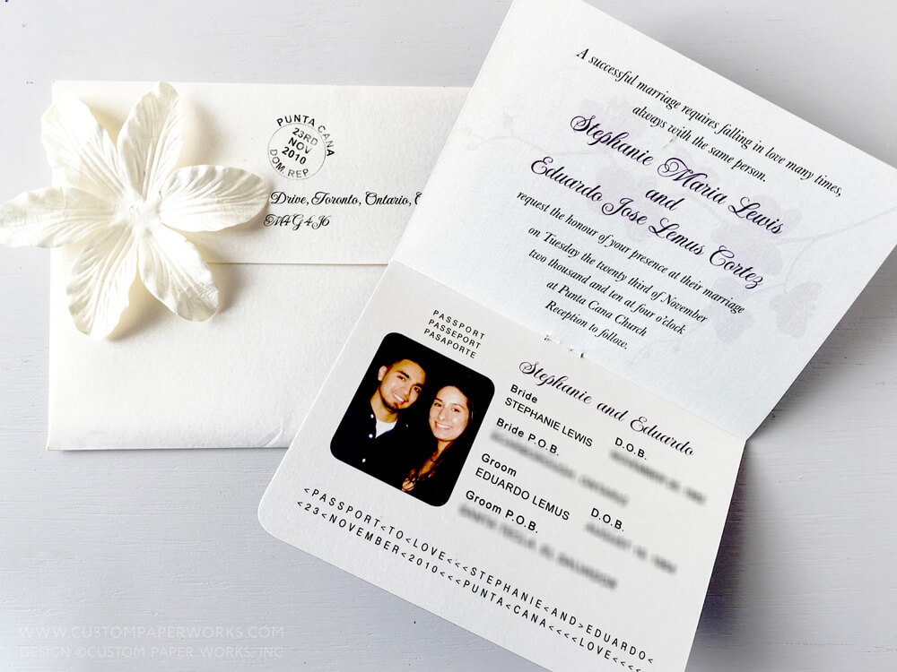 Inside of passport invitation with orchid watermark design