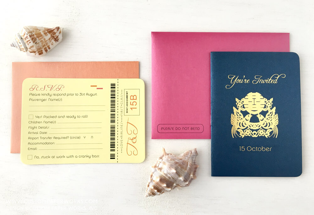 Wedding passport invitation with double happiness symbol on the front cover