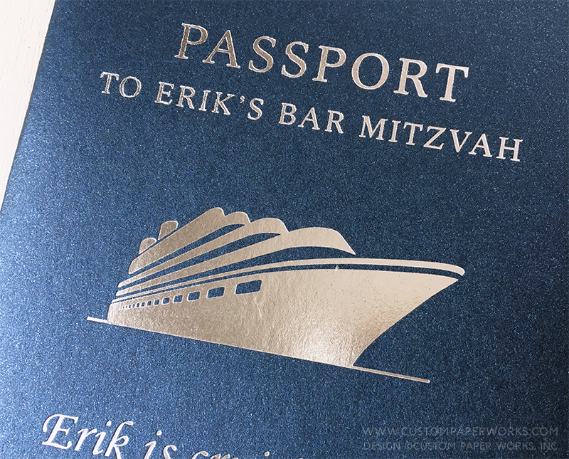 Cover of passport bar mitzvah invitation with a silver cruise ship design.