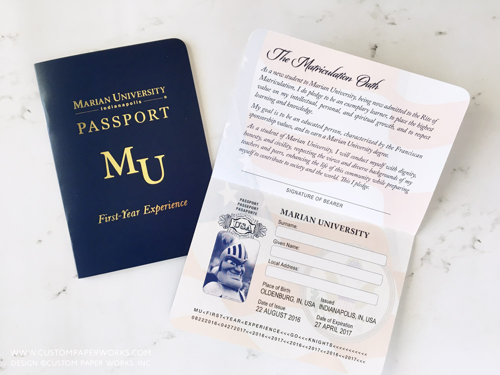 College First Year Experience custom passport booklet