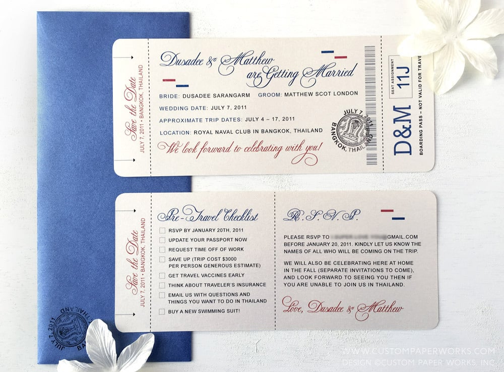 Elegant Calligraphy Font Boarding Pass Save The Date Custom Paper