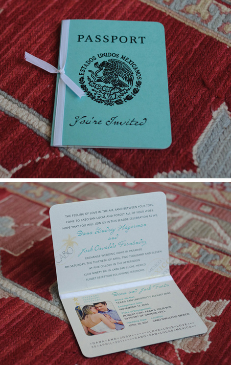 Aqua and ivory Mexico theme passport wedding invitation