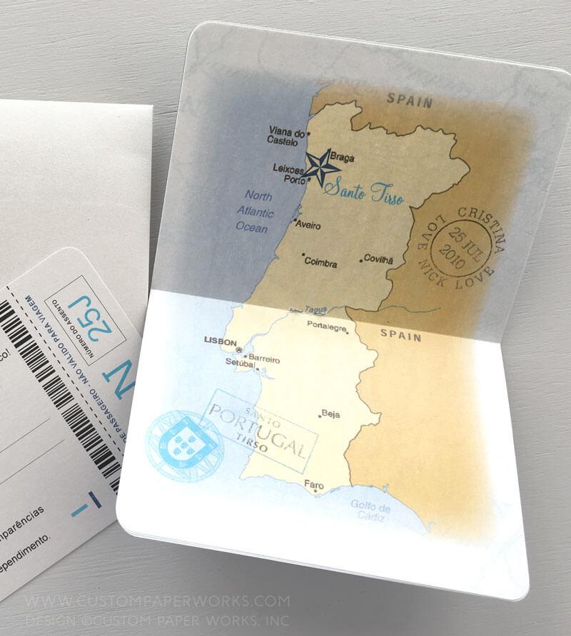 Map of Portugal inside passport wedding invitation