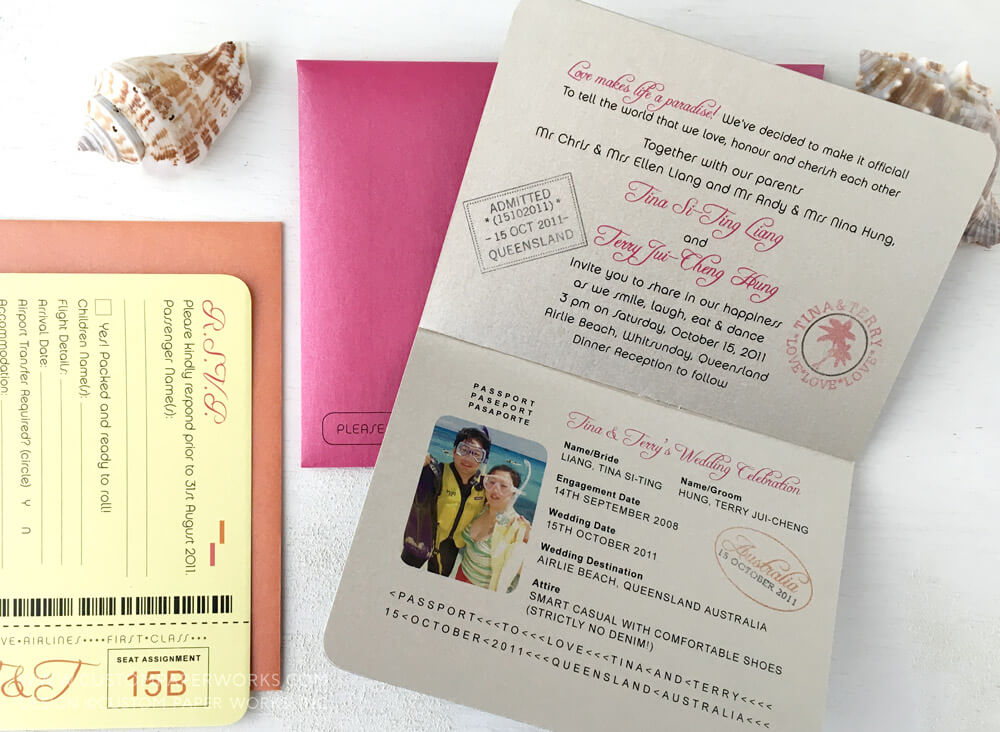 Main inside page of a colorful destination wedding passport