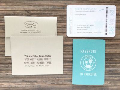 Destination wedding invitation passport palm trees