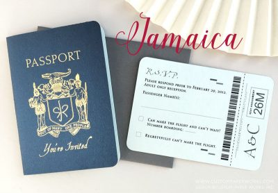 Jamaica passport wedding invite
