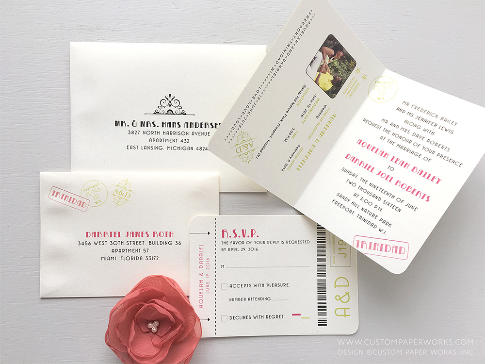 Photo showing inside of a passport wedding invitation for a wedding in Trinidad, W.I.