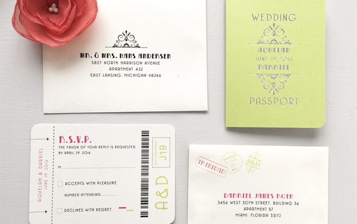 Invitation that looks like a passport with bright lime green cover and pink and silver accent colors for a destination wedding in Trinidad