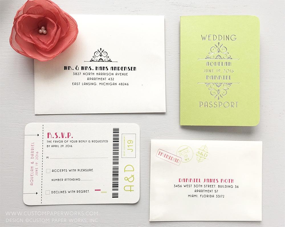 An Elegant & Tropical Lime Green Art Deco Passport Wedding Invitation