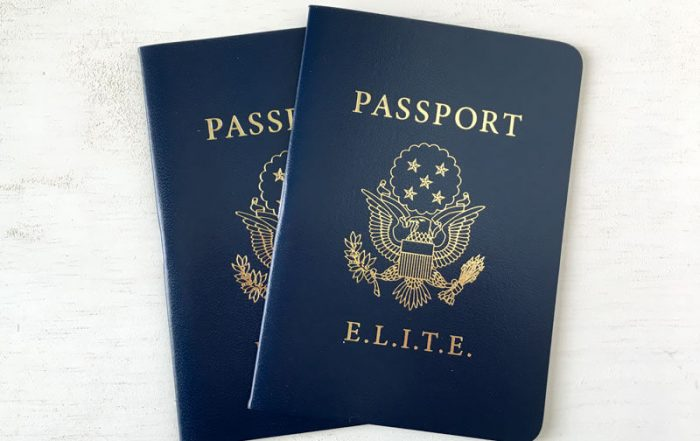 Custom designed passport booklet for team building and workplace education tracking
