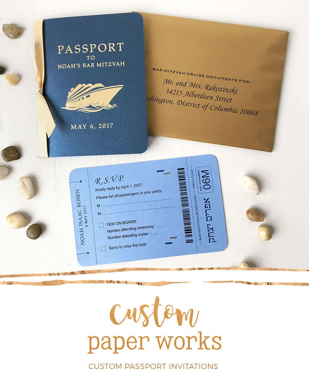 Bar Mitzvah on a Cruise Passport Invitations by Custom Paper Works