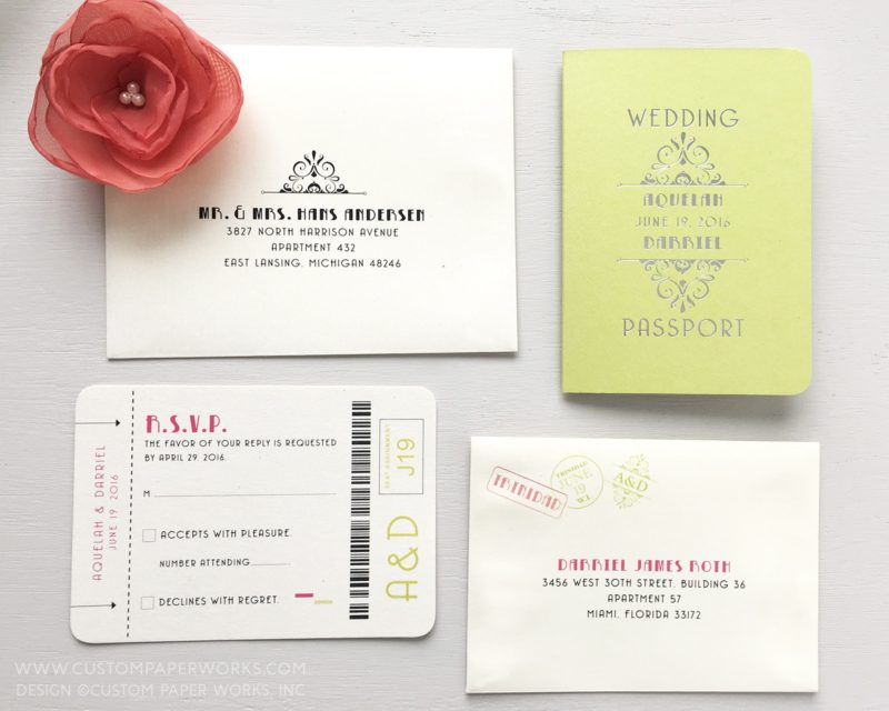 Lime green and ivory wedding invitation that looks like a passport with art deco style