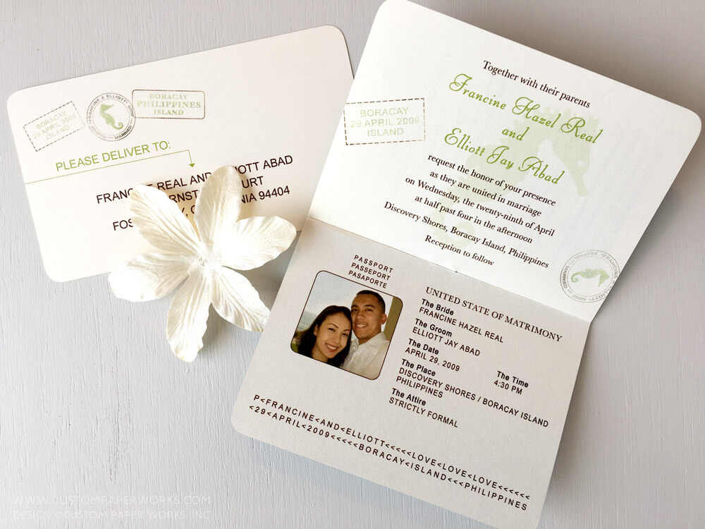First two pages of destination wedding passport invitation
