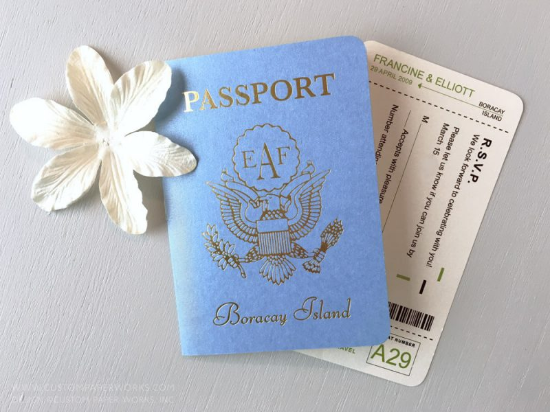 Philippines destination wedding invitation that looks like a passport