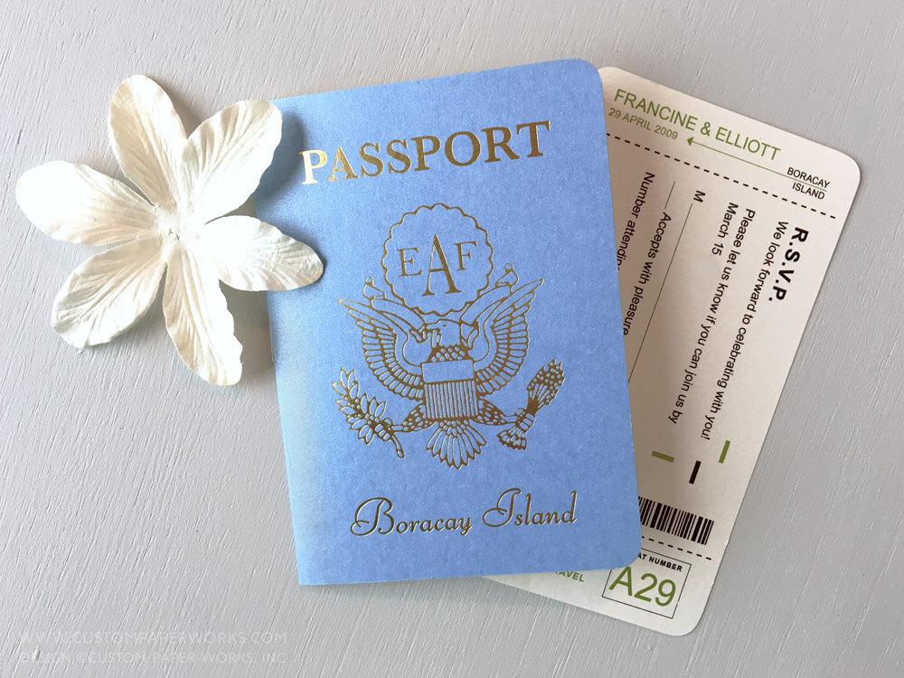 Blue & Green Passport Invitations Plus Wedding Video – Custom Paper ...