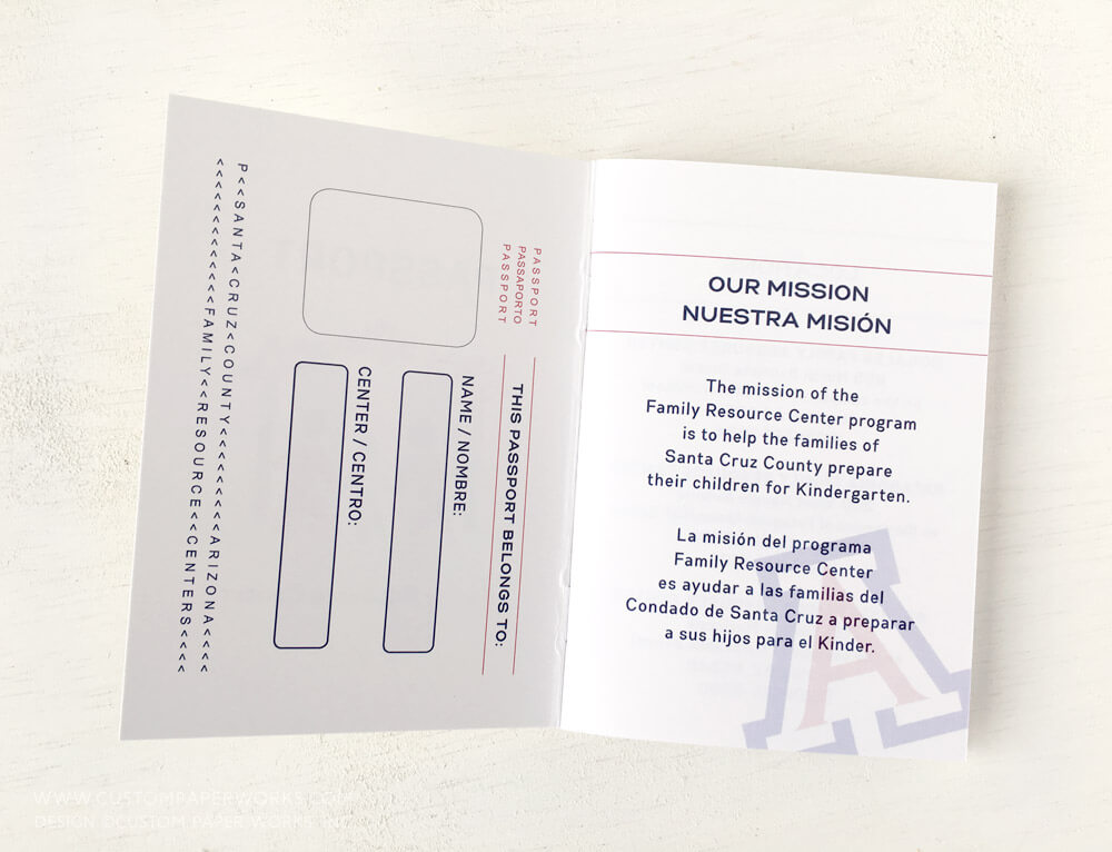 Passport booklet for community education by Custom Paper Works.