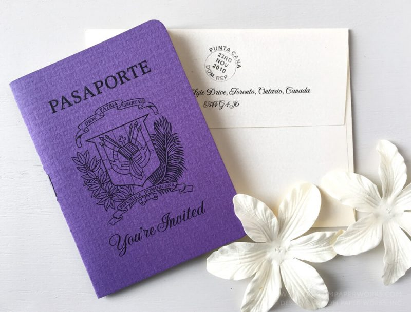 Purple passport invitation for destination wedding in Punta Cana Dominican Republic