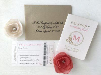 Gold and blush pink destination wedding passport invitation by Custom Paper Works