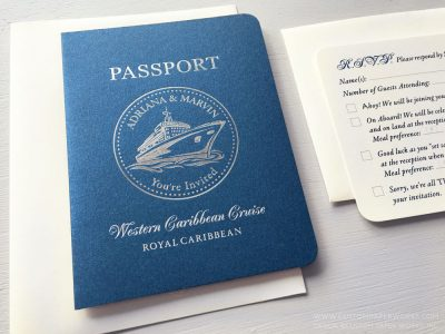 Passport invitation for a cruise ship wedding designed by Custom Paper Works.