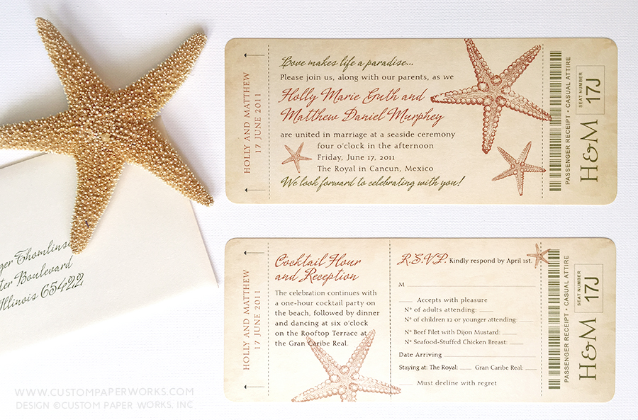 Wedding invitation that looks like a vintage plane ticket with starfish imagery in olive green and rust color scheme.