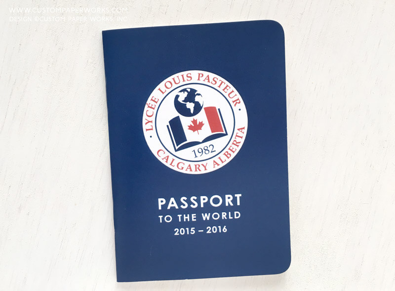 Custom passport booklet designed for tracking volunteer hours at a private school