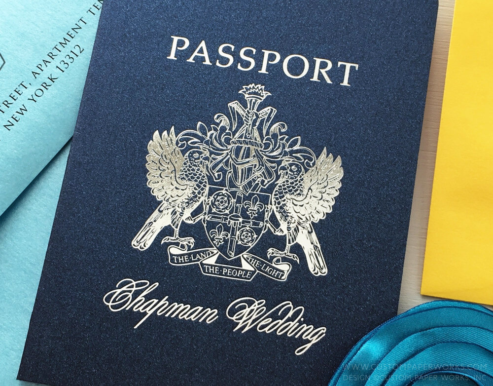 St. Lucia Wedding Passport Invitation by Custom Paper Works