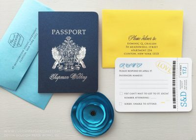 Passport invitation for St. Lucia Wedding designed by Custom Paper Works