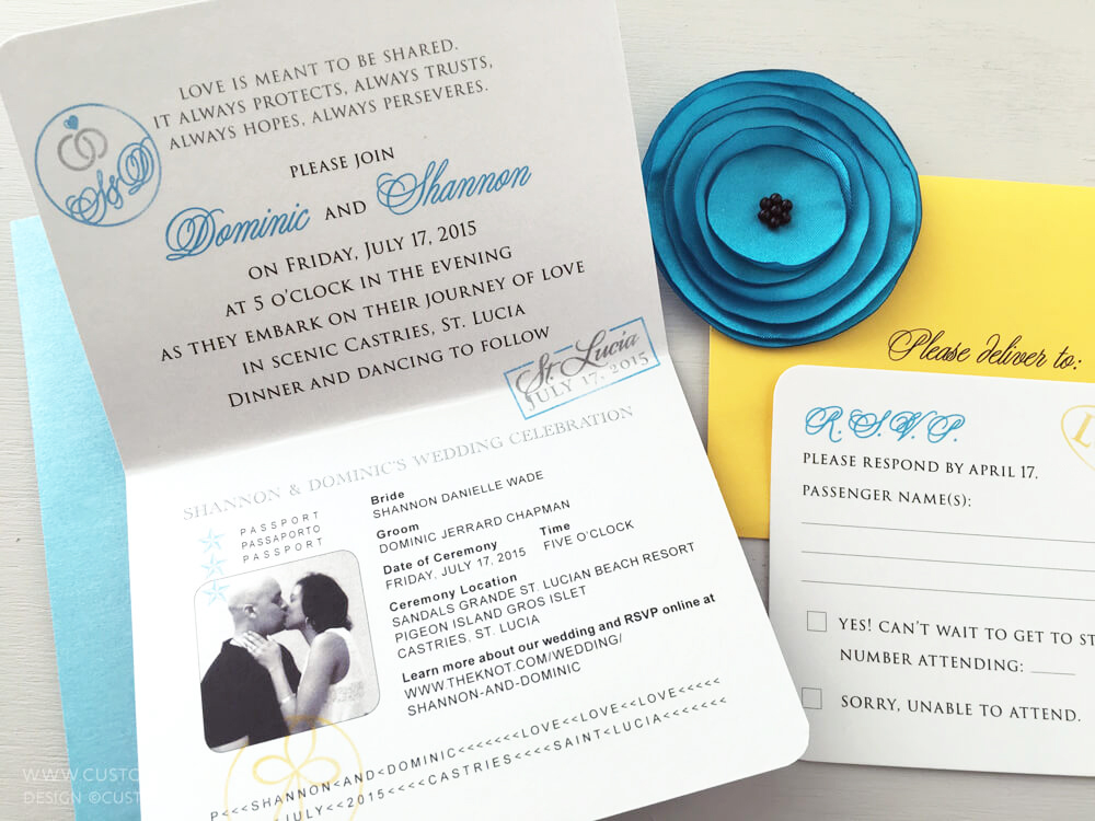 Inside of passport wedding invitation by Custom Paper Works