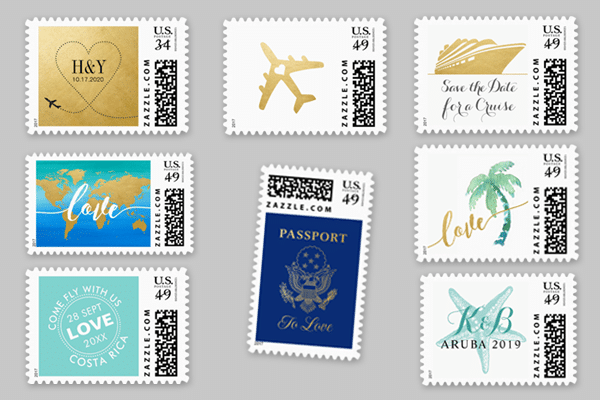 Custom postage stamps for destination wedding invitations