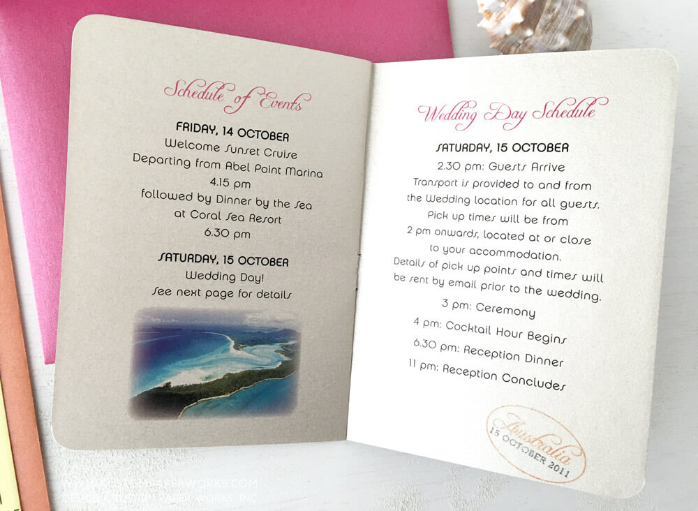 Inside pages of destination wedding invitation