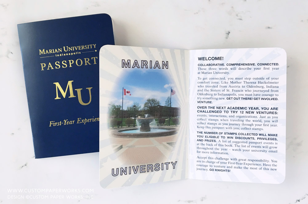 Passport booklet for freshmen entering college to track learning experiences