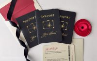 Elegant wedding passports invitation in black and gold with suitcase design