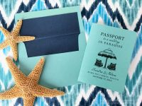 Mexico wedding passport invitation with beach chairs on the cover