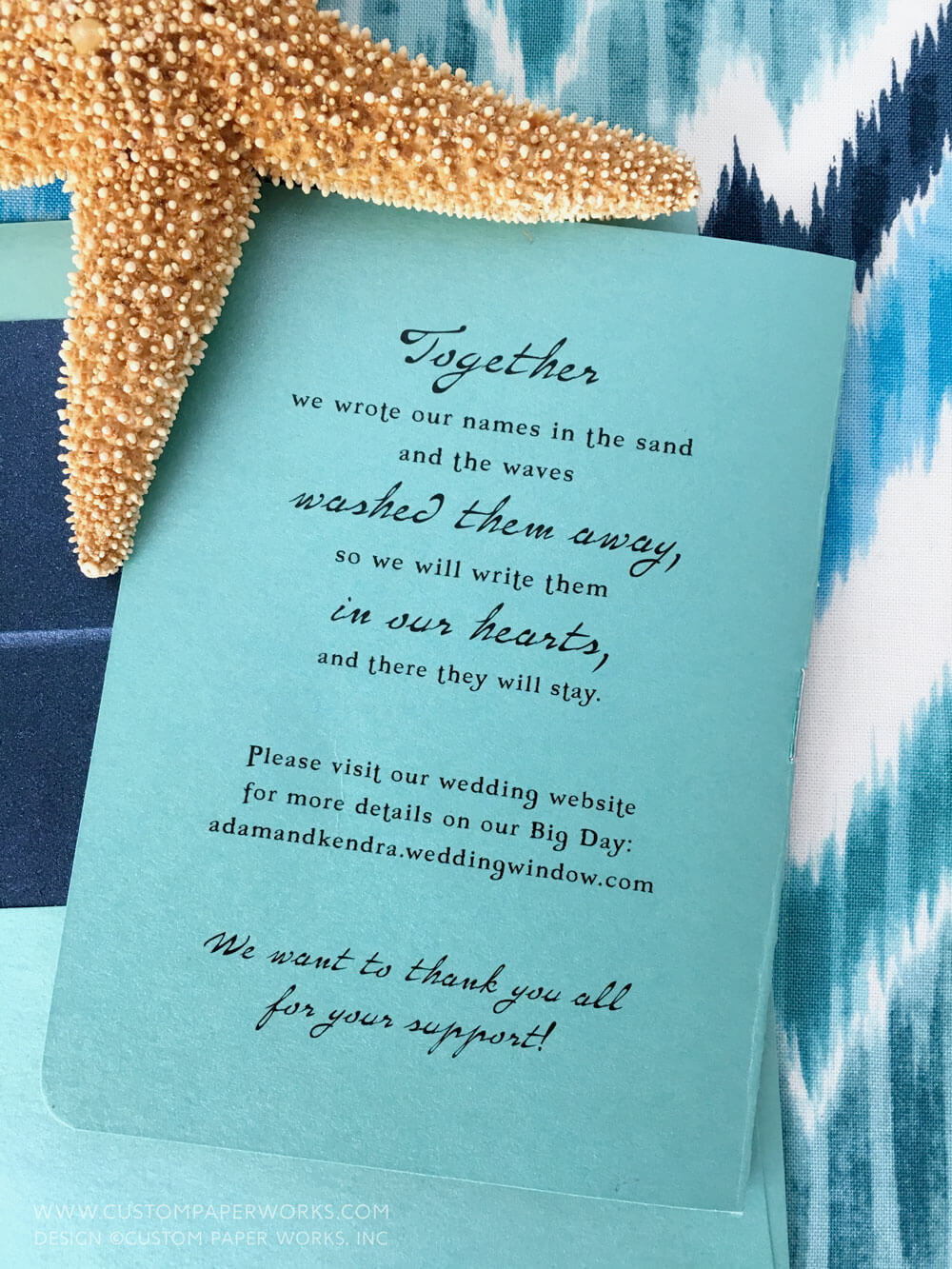 Beach wedding invitation love quote