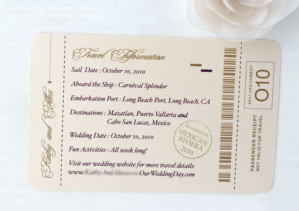 Boarding pass info card by Custom Paper Works