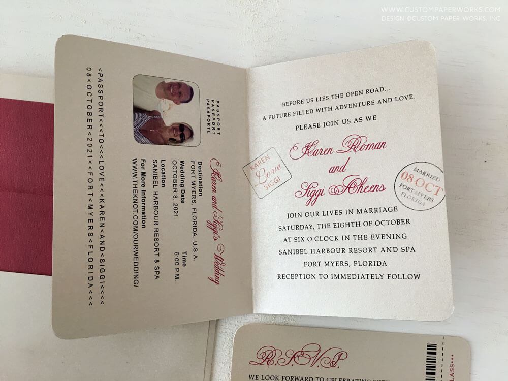 Inside of destination wedding invitation by Custom Paper Works