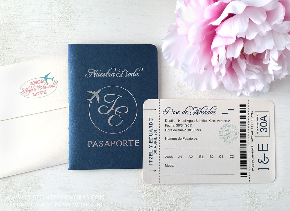 Destination wedding passport invitation with airplane emblem by Custom Paper Works