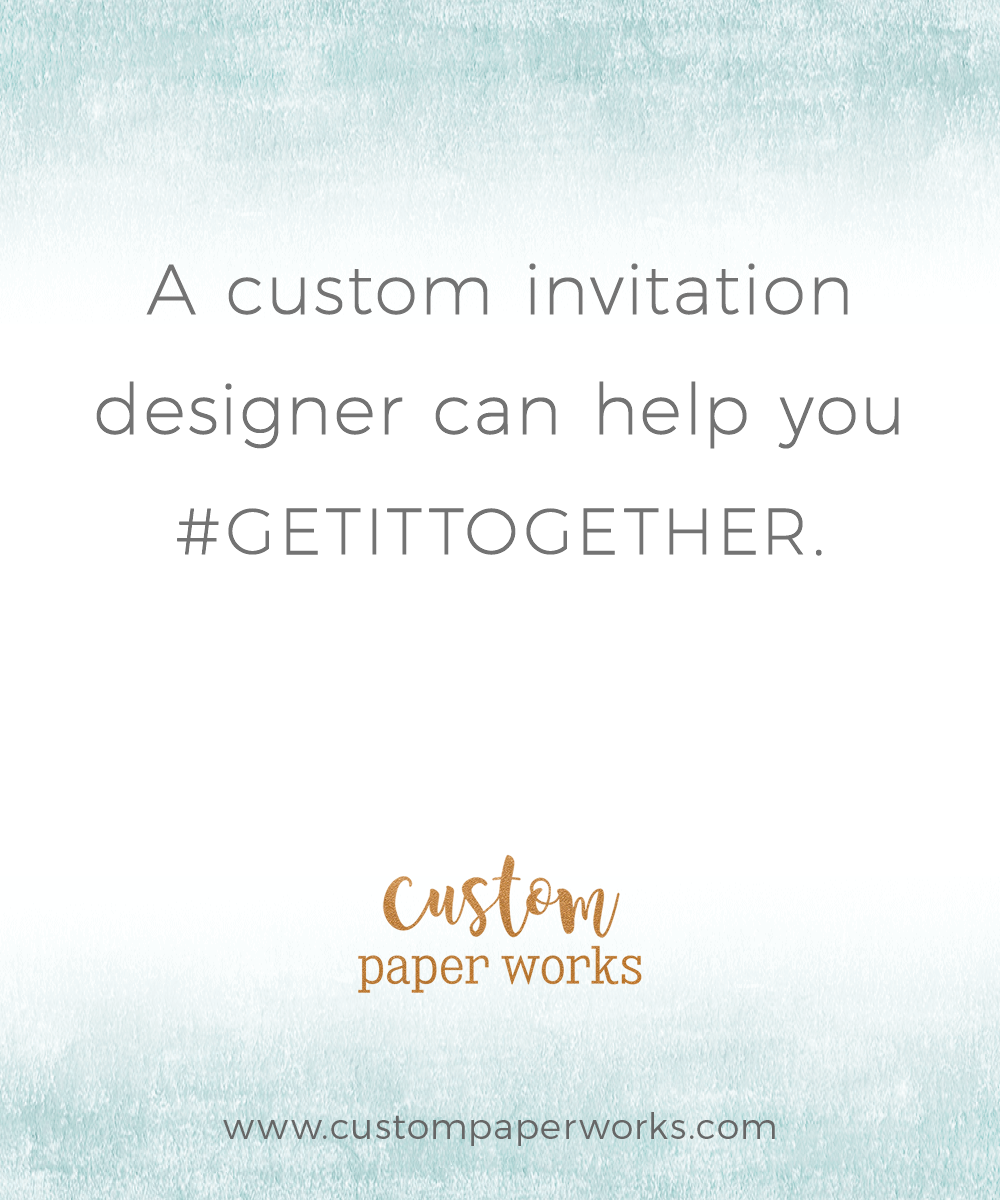 A custom invitation designer can help your coordinate your wedding