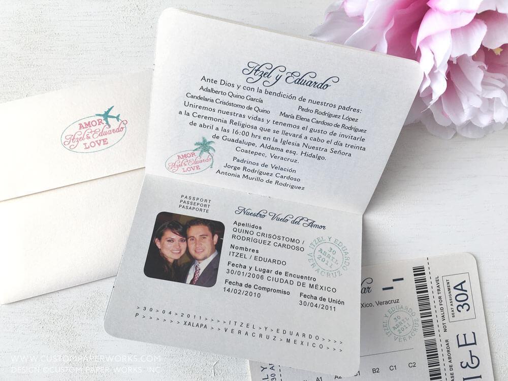 Inside of destination wedding passport invite