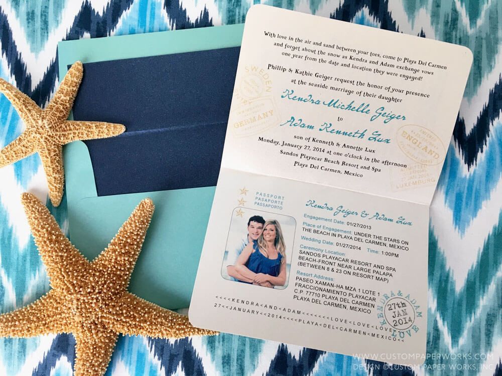 Inside of Playa del Carmen passport invite by Custom Paper Works