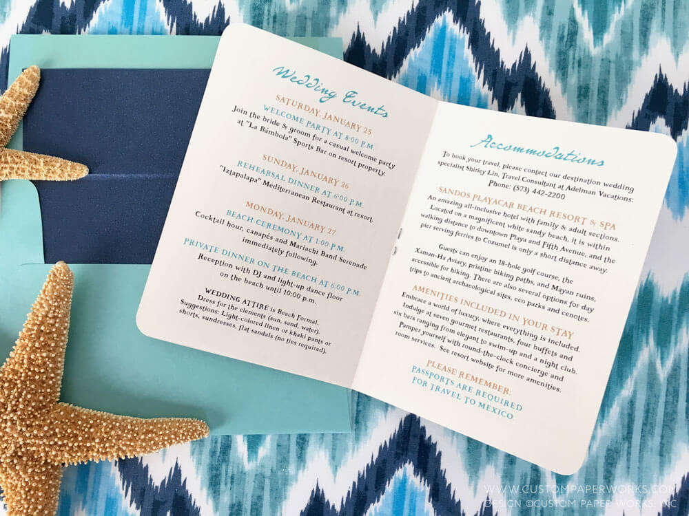 Passport invite for mexico destination wedding by Custom Paper Works